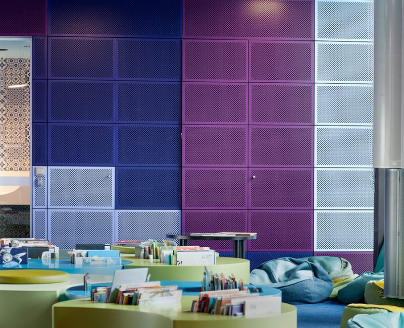 Geelong Library and Heritage Centre with Blue and Purple Atkar Acoustic Panels