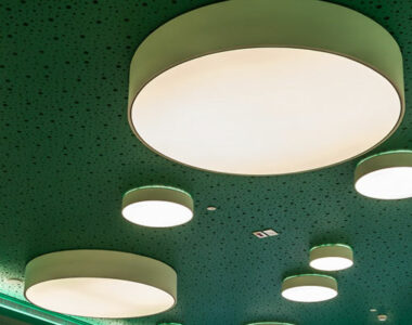 Vogl Colour Green Ceiling Panels with High Acoustic Performance Close up